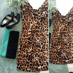 Sexy leopard print ruched cocktail dress